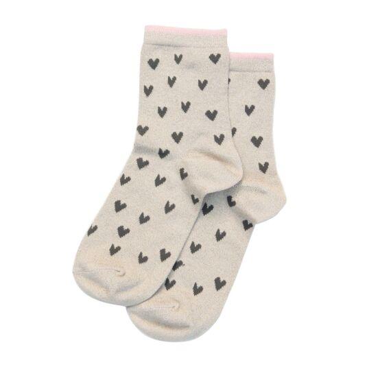 Oatmeal & Black Heart Socks