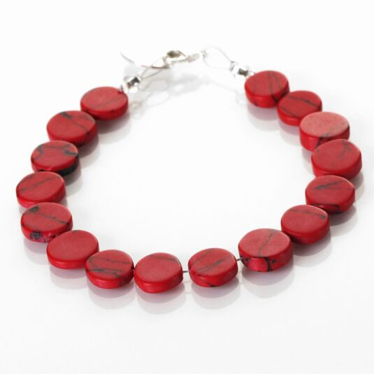 Red Mosaic Coins Bracelet