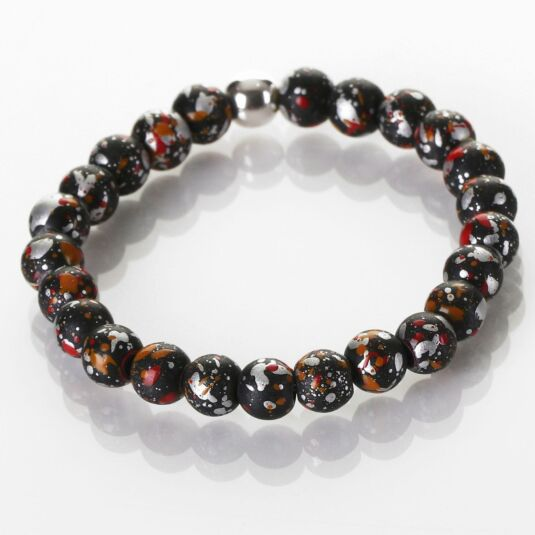 Red and Black Shimmer Marble Bracelet