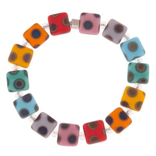 Rainbow Dotty Squares Bracelet