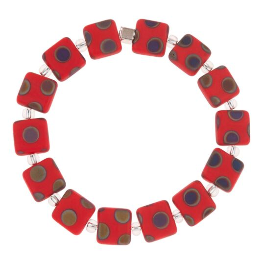 Red Dotty Squares Bracelet