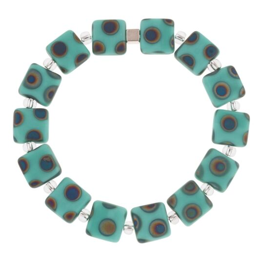 Mint Dotty Squares Bracelet