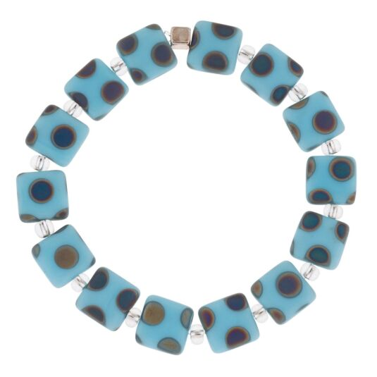 Light Blue Dotty Squares Bracelet