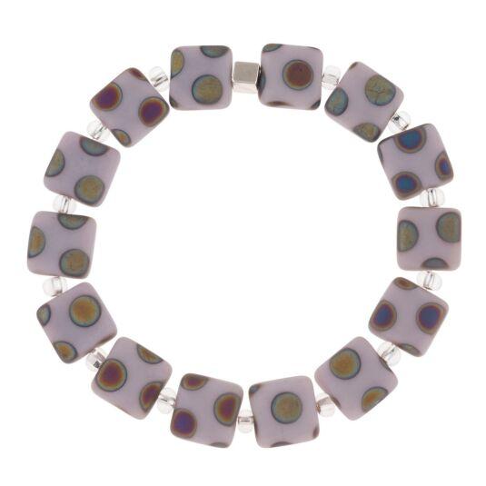 Lilac Dotty Squares Bracelet