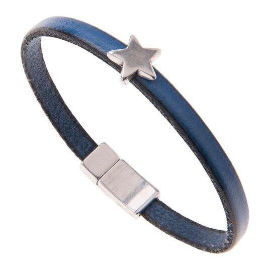 Blue Leather Star Charm Bracelet