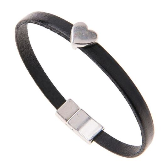 Black Leather Heart Charm Bracelet