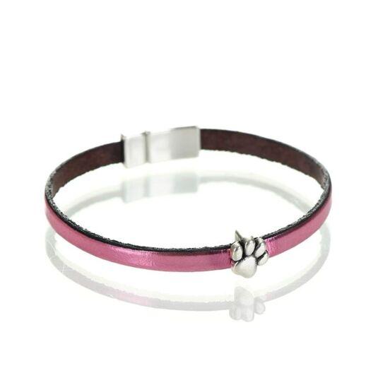Metallic Rose Leather Paw Charm Bracelet