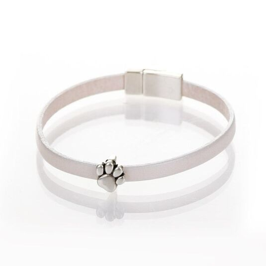 Pearl White Leather Paw Charm Bracelet