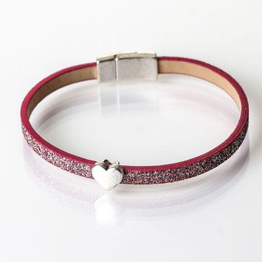 Pink Sparkle Heart Charm Bracelet