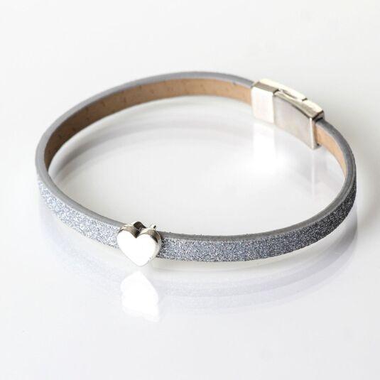 Silver Sparkle Heart Charm Bracelet