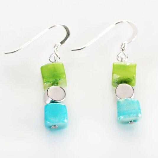 Green-Blue Summer Shell Earrings