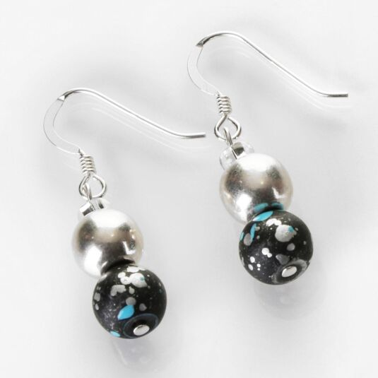 Blue and Black Shimmer Marble Earrings