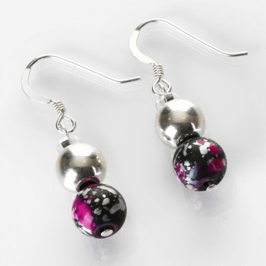Pink and Black Shimmer Marble Earrings