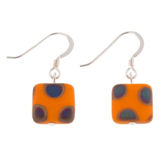 Orange Dotty Squares Earrings