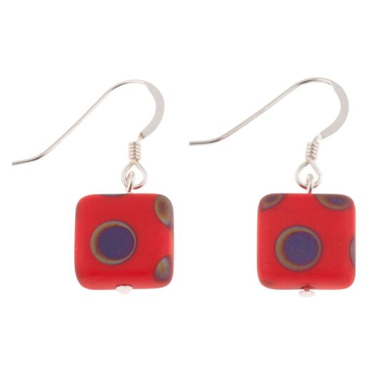 Red Dotty Squares Earrings