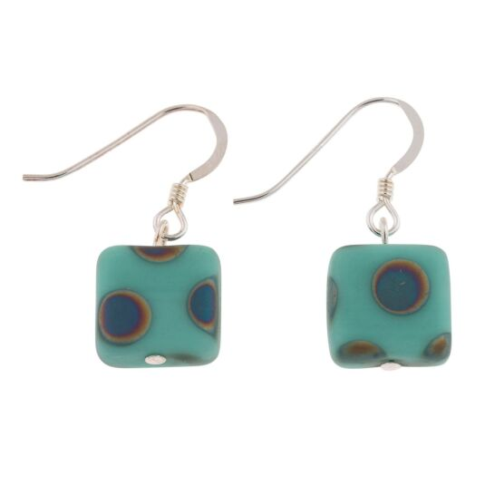 Mint Dotty Squares Earrings