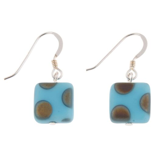 Light Blue Dotty Squares Earrings