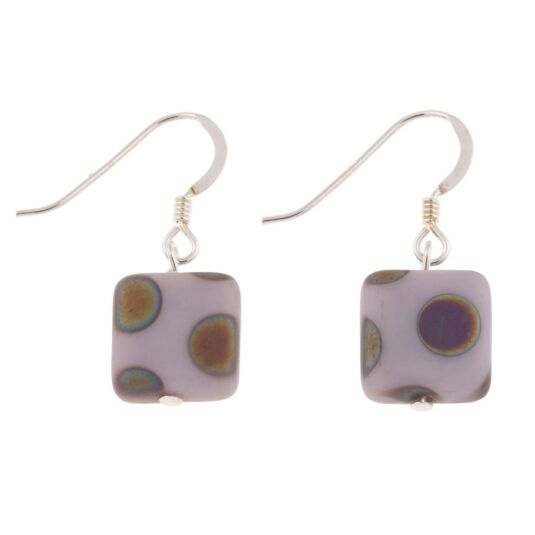 Lilac Dotty Squares Earrings