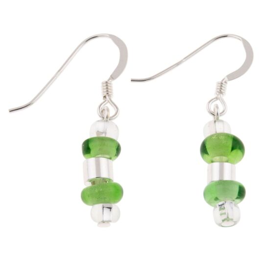 Green Rings & Barrels Earrings