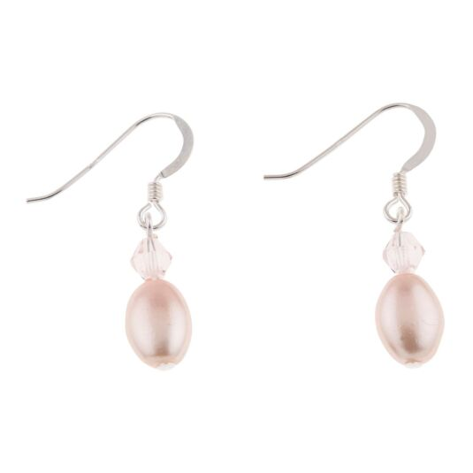 Blush Pearl & Crystal Bridal Earrings