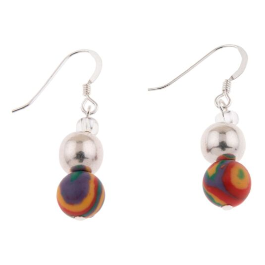 Rainbow Zebra Marbled Earrings
