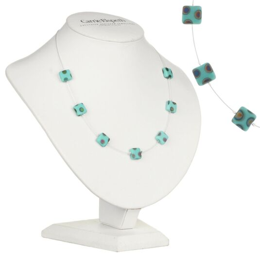 Mint Dotty Squares Necklace