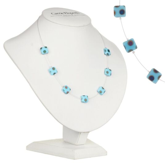Light Blue Dotty Squares Necklace