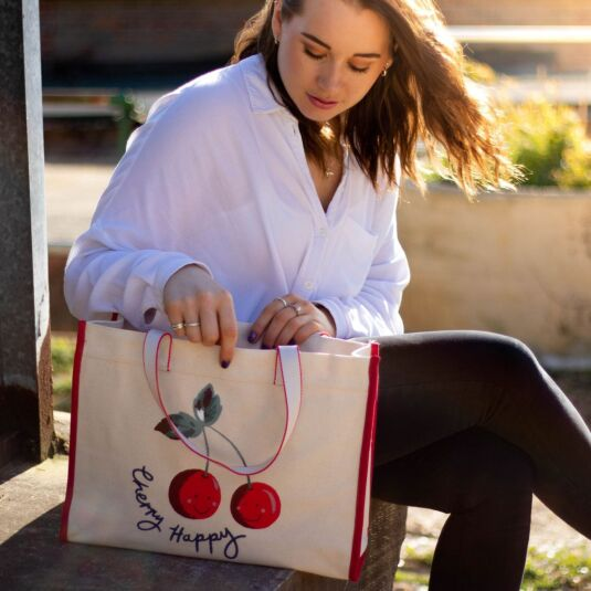 Cherry Happy Canvas Tote Bag