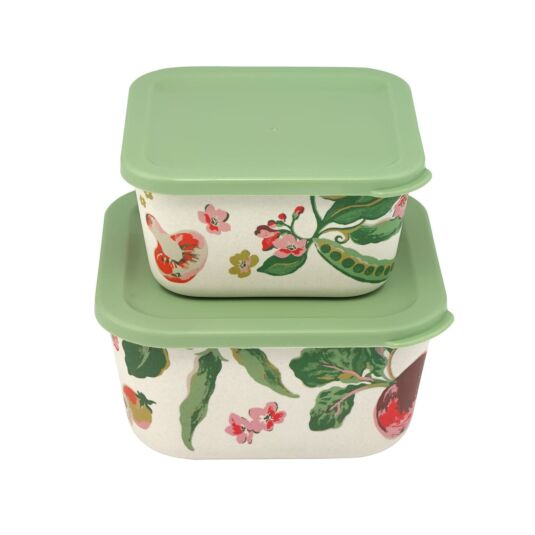 Garden Veg Set Of 2 Bamboo Lunch Boxes