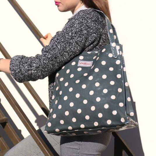 Khaki Button Spot Shoulder Tote Bag