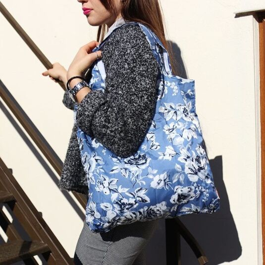 Etched Floral Foldaway Shopper Bag