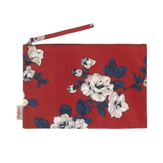 Ruby Crescent Rose Large Pouch with Wrist Strap