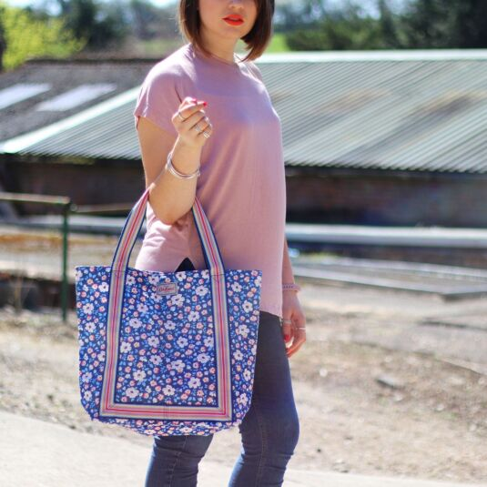Island Flowers Reverse Coated Tote Bag