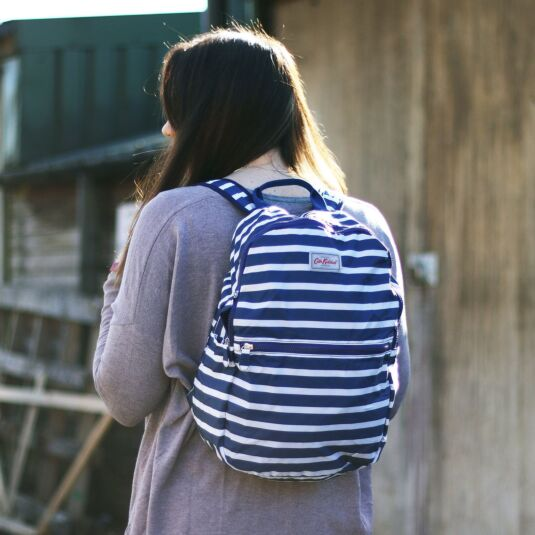 Breton Stripe Foldaway Backpack