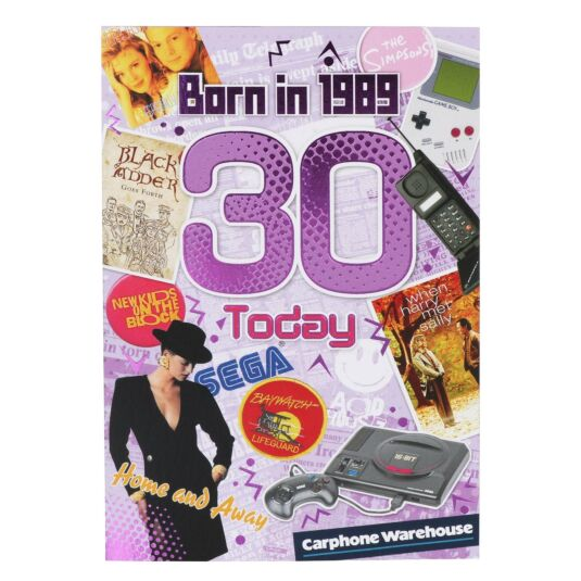 Down Memory Lane Purple '30 Today' Card