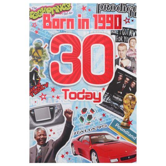 Down Memory Lane Blue '30 Today' Card