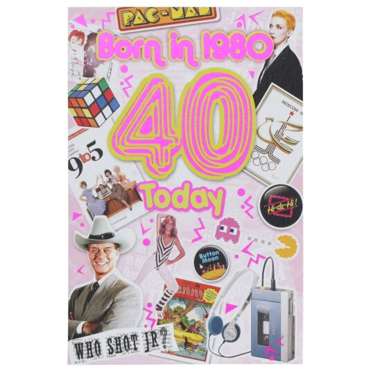 Down Memory Lane Pink '40 Today' Card