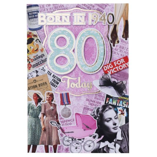 Down Memory Lane Pink '80 Today' Card