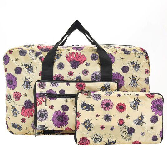 Beige Flowers & Bees Foldaway Holdall Bag