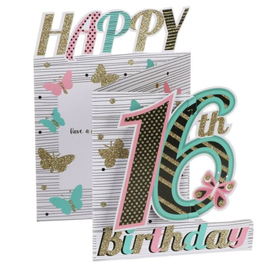 '16th Birthday' Butterflies 3D Card