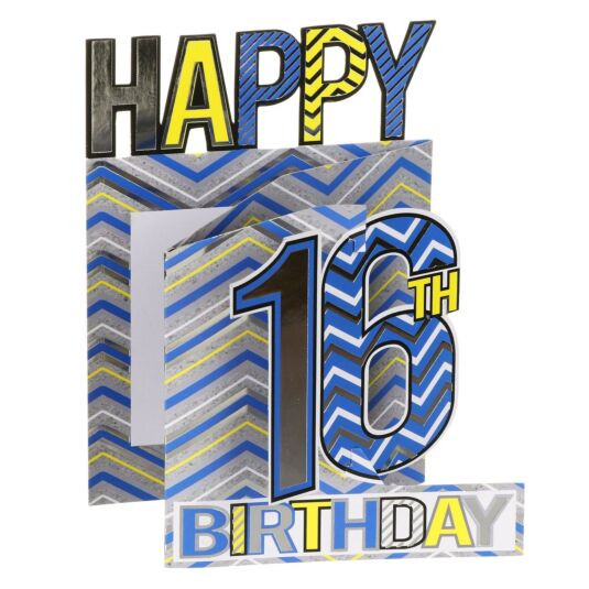 '16th Birthday' Zigzags 3D Card