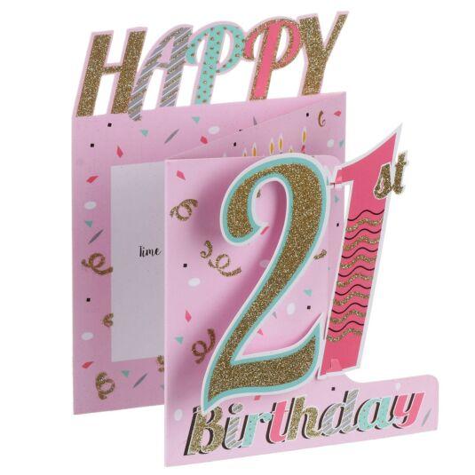 '21st Birthday' Confetti 3D Card