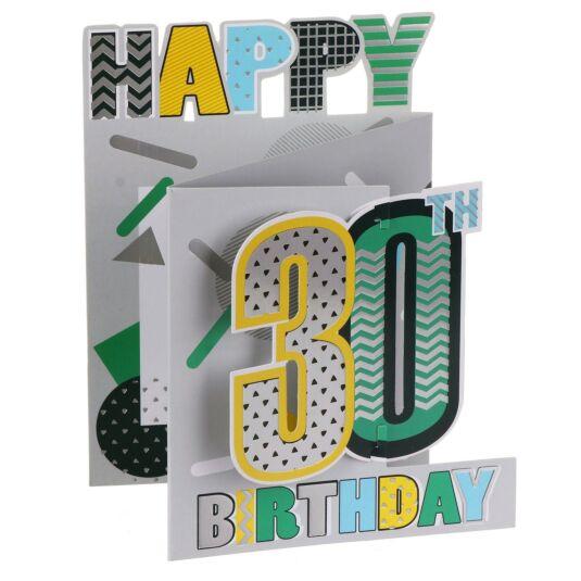 '30th Birthday' Metallic Graphics 3D Card