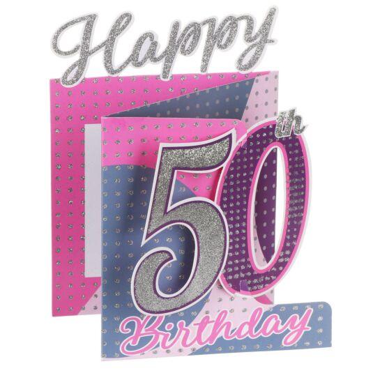 '50th Birthday' Dots 3D Card