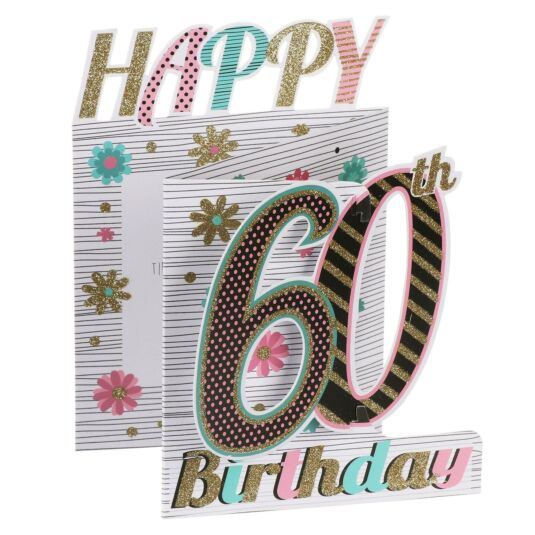 '60th Birthday' Flowers 3D Card