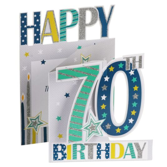 '70th Birthday' Stars 3D Card