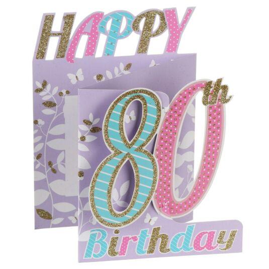 '80th Birthday' Flowers 3D Card