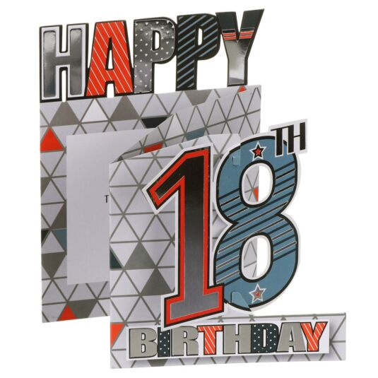 '18th Birthday' Geometric 3D Card