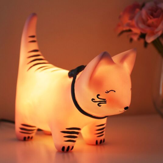 Large Cat with Bow Tie Lamp