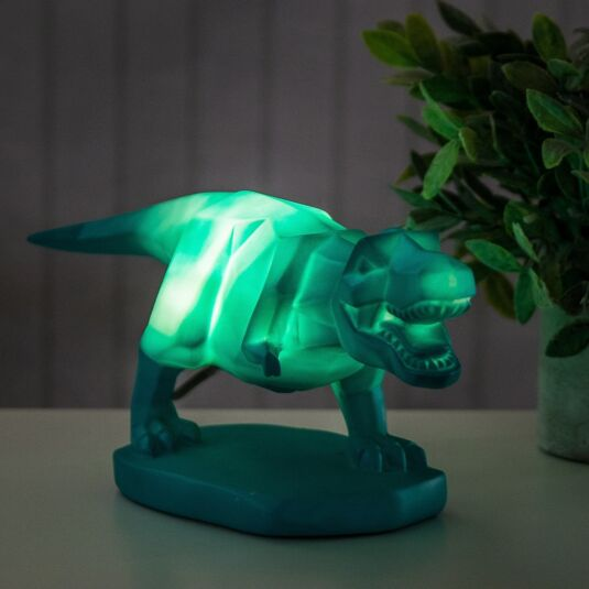 Large Turquoise T-Rex Origami Lamp